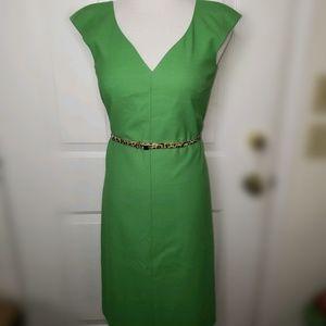 HUGO BOSS V-NECK GREEN VIRGIN WOOL DRESS SZ 2